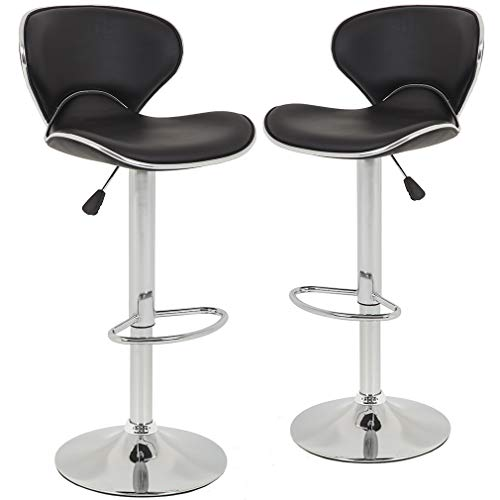 New Modern Adjustable Synthetic PU Leather Swivel Bar Stool Stool Sets of 2 Swivel Adjustable Barstools with Back for… 1