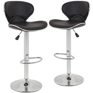 New Modern Adjustable Synthetic PU Leather Swivel Bar Stool Stool Sets of 2 Swivel Adjustable Barstools with Back for… 4