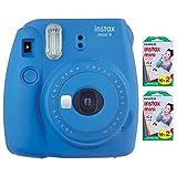 Fujifilm Instax Mini 9 Instant Camera (Cobalt Blue) with 2 x Instant Twin Film Pack (40 Exposures)