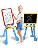 STEAM Life Art Easel for Kids   4 in 1 Magnetic Board, Chalkboard, Painting Easel, and Drawing White Board for Kids   Includes Magnetic Letters and Numbers