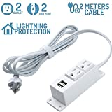Power Strip with USB,2 AC Outlets 2 USB Charging Ports Mounting Power Center,6.5fT Power Strip Heavy Duty Extension Cord,Mountable Under Desk/Table Wall Socket(White)