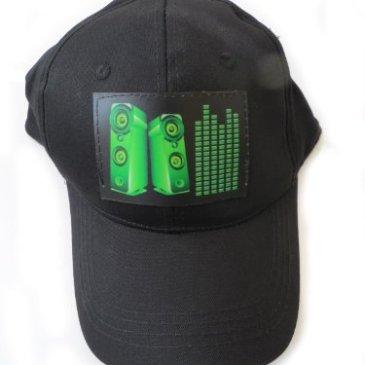 DJ LED Flashing Sound Activated Green Equalizer E-Q Raver Light Up Disco Hat Cap