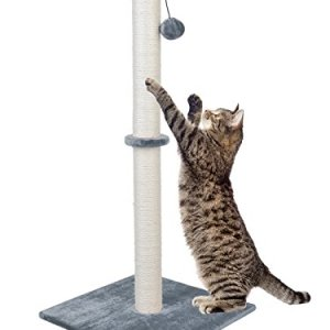 Dimaka 37″ Tall Ultimate Cat Scratching Post, Claw Scratcher with Sisal Rope and Covered with Soft Smooth Plush, Vertical Scratch [Full Stretch], Modern Stable Design 37 in Height