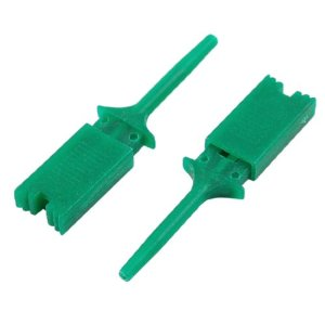 10 Pcs Green Plastic Multimeter Test Probe SMD IC Hook Clip Grabbers 1.9″