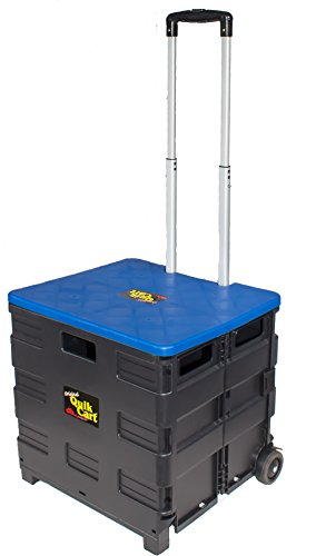dbest products Quik Cart Two-Wheeled Collapsible Handcart with Blue Lid Rolling Utility Cart with seat heavy duty lightweight