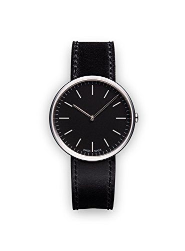 4114VqSbjkL M35 two-hand watch in polished steel with black cordovan leather strap Swiss made Swiss-quartz Movement