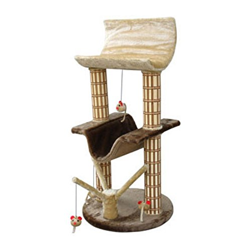 Penn Plax Two Story Cat Perch and Play Tree with Mouse Toys
