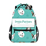School Backpack Classic Travel Laptop Dog Pattern Collection Backpack Rucksack Middle School Bookbag