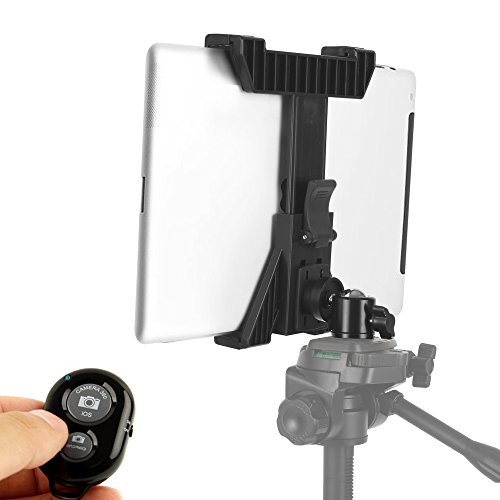 KobraTech iPad Tripod Mount – TabMount 360 – Tablet Tripod Mount with Ball Head & Bluetooth Remote Shutter