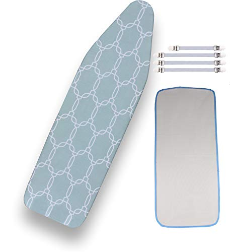 Balffor Standard Ironing Board Cover Bundle 6 Items: 1 Extra Thick Felt Pad, Heat Resistant, and Scorch Resistant Cover [15' x 54'], 4 Fasteners and 1 Large Protective Scorch Mesh Cloth