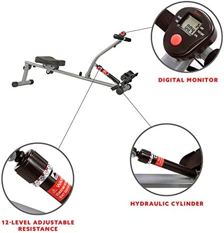 Sunny Health & Fitness SF-RW1205 Rowing Machine Rower with 12 Level Adjustable Resistance, Digital Monitor and 220 LB Max Weight