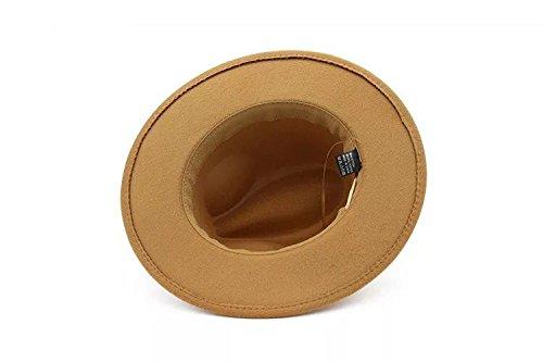 f906097fe7c Lanzom Womens Classic Wide Brim Floppy Panama Hat Belt Buckle Wool ...
