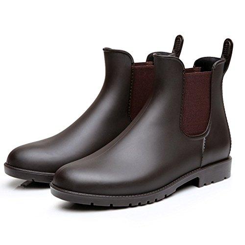 Colorxy Women's Ankle Rain Boots Fashion Elastic Chelsea Booties Anti Slip Waterproof Slip On Short Rain Booties Brown