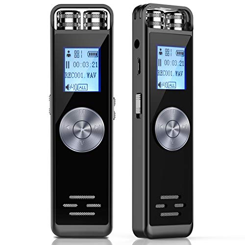 Digital Voice Recorder,TENSAFEE 16GB Activated Sound Audio Recorder Dictaphone,Portable HD USB digital Recorder with Double Microphone Support TF Card 32G Expand for Lectures/Meetings/Interviews/Class