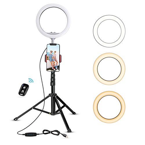 UBeesize 10.2' Selfie Ring Light with Tripod Stand & Cell Phone Holder for Live Stream/Makeup, Mini Led Camera Ringlight for YouTube Video/Photography Compatible with iPhone Android (Upgraded)