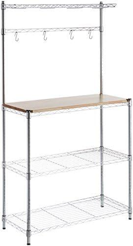 AmazonBasics Kitchen Storage Baker's Rack with Wood Table, Chrome/Wood – 63.4″ Height