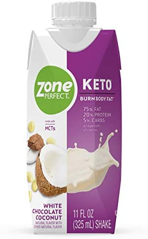 ZonePerfect Keto Shake, White Chocolate Coconut, True Keto Macros To Burn Body Fat, Made With MCTs, 11 fl oz, 12 Count 1