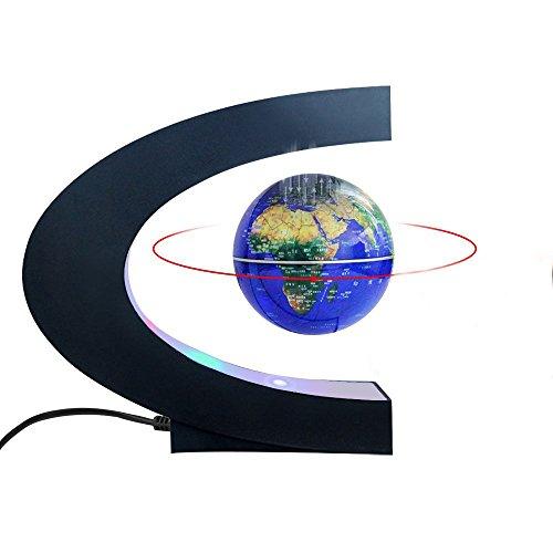 Magnetic Levitation Floating World Map Globe with C Shape Base, 3' Rotating Planet Earth Globe Ball Anti Gravity LED Light Lamp- Educational Gifts for Kids, Home Office Desk Decoration (Dark Blue)