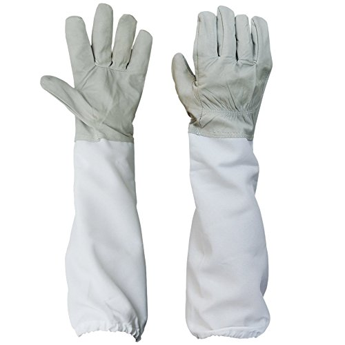 Zamango 1 Pair Goatskin Beekeeper Beekeeping Protective Gloves with Vented Long Sleeves White