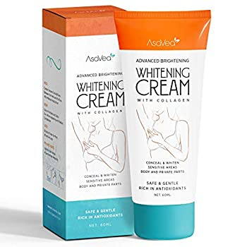No more feeling embarrassed for darkened skin in unwanted areas. Now get ready to see your skin lightened through AsaVea Whitening Cream with Collagen.This whitening cream can be used nearly on every body part, including your underarms, private ar...