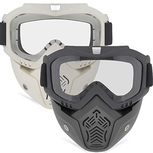 EXSPORT 2 Pack Detachable Face Masks, Tactical Mask with Protective Goggles Compatible with Nerf Rival , Apollo, Zeus, Khaos, Atlas, & Artemis Blasters Rival Mask Black & White