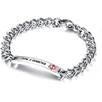 Free Engraving- 8mm High Polished Surgical Steel Chain Medical Alert ID Bracelets for Women and Men