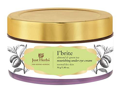 411YlxOsLWL - Just Herbs Ayurvedic I'Brite Almond-Green Tea Nourishing Under Eye Cream for Dark Circles & Puffiness - 50 GM