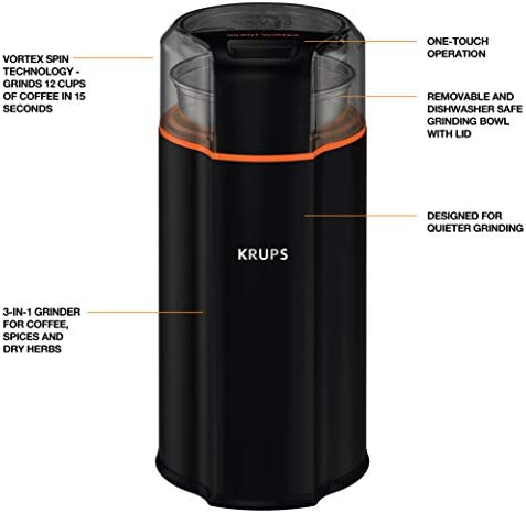 KRUPS Silent Vortex Electric Grinder for Spice, Dry Herbs and Coffee, 12-Cups, Black