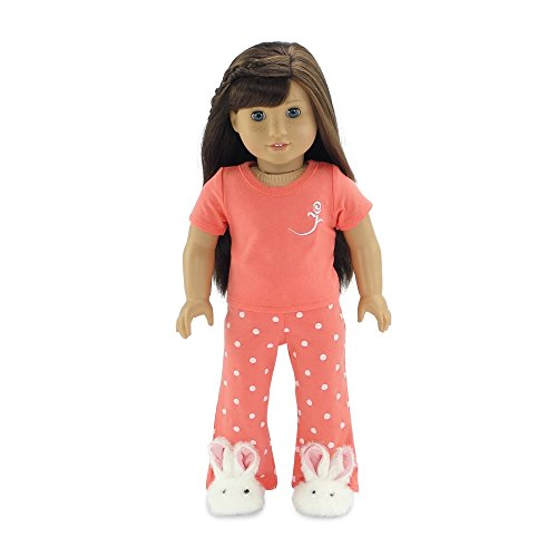 18 Inch Doll Clothes Coral Pajamas PJs | Fits 18' American Girl Dolls | Includes Doll Bunny Slippers | Gift-boxed!