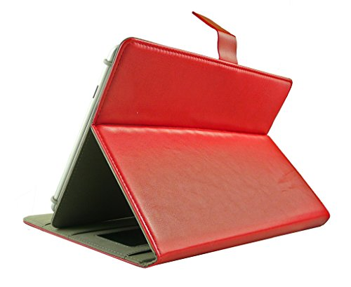 411bo%2BHq58L Emartbuy Smart Hard Back Flip Stand Wallet Cover for Amazon Fire HD 7 Tablet : Size (7-8 Inch) - Red Plain