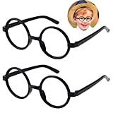 Kids Wizard Glasses Retro Round Glasses Frame No Lenses for Christmas Costume Party Cosplay Supplies for Age 4-12 Black