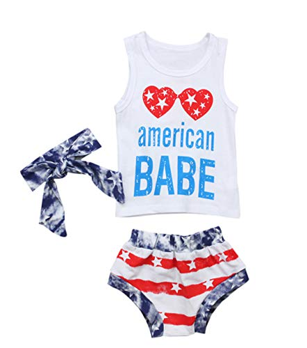 Ritatte American Dude & Baby, Toddler Girls Boys Stars Striped Tops Vest Shorts 4th of July Outfits (Girls, 3-4 T (120))