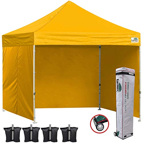 Eurmax 10x10 Ez Pop Up Canopy Outdoor Canopy Instant Canopies with Full Zipper Sidewalls and Roller Bag,Bouns 4 Weight Bags(Gold)
