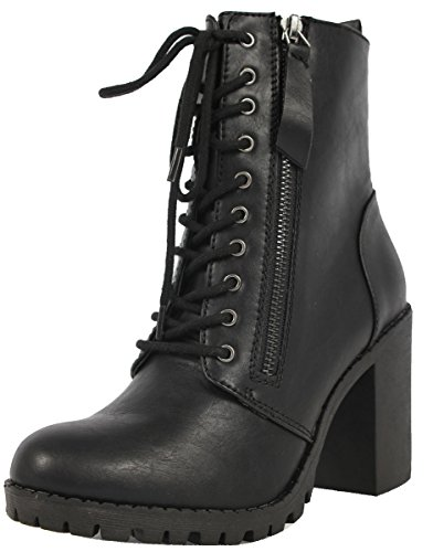 SODA Women's Malia Faux Leather Lace Up Chunky Ankle Boot, Black, 9 M US