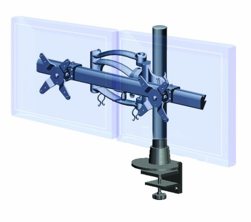 Ergotech Dual Horizontal with Single Articulating LCD Monitor Arm on 16-Inch Pole, Desk Clamp (200-C16-B02)