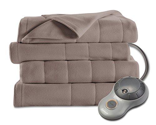 Sunbeam Heated Blanket | 10 Heat Settings, Quilted Fleece, Mushroom, Queen