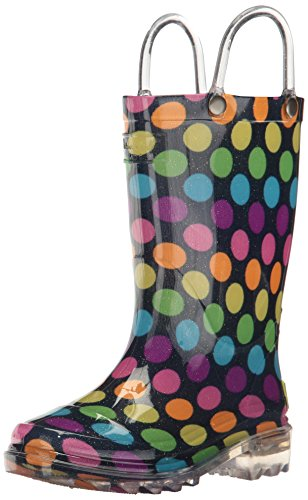 Western Chief Girls' Waterproof Rain Boots That Light Up Each Step, Rainbow Unicorn, 9 M US Toddler