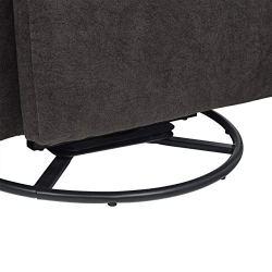 Amazon Brand – Ravenna Home Pull Recliner with 360 Rotating Swivel Glider, Living Room Chair, 39″W, Dark Grey