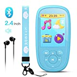 AGPTEK Bluetooth MP3 Player for Kids, Children Music Player with Built-in Speaker 8GB, 2.4 Inch HD Screen, 10 Soothing Sounds, FM Radio, Video, Voice Recorder, Expandable Up to 128GB,Blue