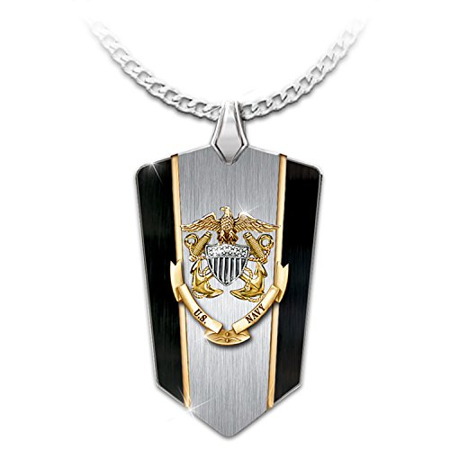 Bradford Exchange Anchors Aweigh U.S. Navy Men's Dog Tag Pendant Necklace by The