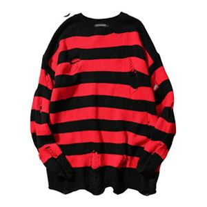 NanGate Sweaters Men Hip Hop Hole Pullover Sweater Male Loose Long Sleeve Sweaters Red Black