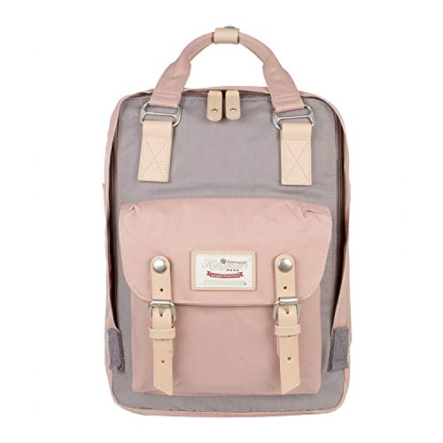 Himawari Backpack/Waterproof Backpack 14.9' College Vintage Travel Bag for Women,13inch Laptop for Student (Pink&Gray)