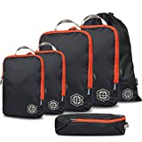 Packing Cubes Travel Organizer- Compression Packing Cubes for Carryon Luggage (Grey and Orange, 6Piece)