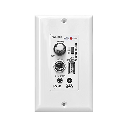 Pyle Bluetooth Receiver Wall Mount   In-Wall Audio Control Receiver with Built-in Amplifier   USB, Microphone, Aux (3.5mm) Input   Speaker Terminal Block   Connect 2 Speakers - 100 Watt (PWA15BT)