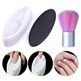 NICOLE DIARY French Dip Nail Container Dipping Nail Powder Tray Nail Tips Mold Guides and Nail Cleaning Brush Acrylic UV Gel Powder Dust Remover Brush Manicure Nail Art Tool