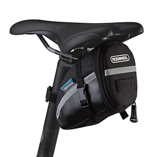 ROSEWHEEL CestMall 1.2L Bicycle & MTB Cycling PU Saddle Bag, Waterproof Bike Bag Back Seat Pouch, Bicycle Repair Tools Pocket Pack with Reflective Stripes (New Black)