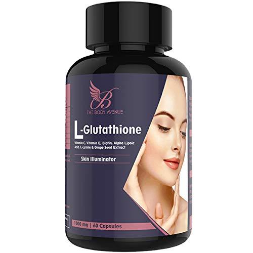 4122PIPc3ZL - The Body Avenue L Glutathione Reduced with Grapeseed, Biotin, Vitamin C, Vitamin E for Skin 1000mg - 60 Capsules