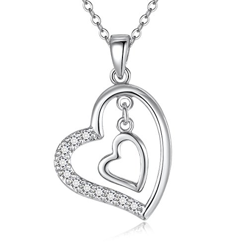 Blinkingstare Heart Pendant Women Necklace - Electroplated Brass Silver Double Love Girl Necklace with 11 Crystal for Wedding and Party