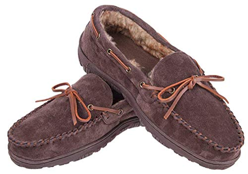 MIXIN Men's Thick Plush Lining Winter Warm Indoor Outdoor Slip On Driving Loafers Rubber Sole Moccasins Slippers Shoes (11 M US Men, Cowhide Leather(Dark Brown))