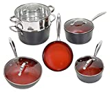 Fire & Earth 10 Piece ALL in One Cookware Set with Non-stick Ceramic Coating, Induction Heat Included Fry Skillet, Saute Pans, Stock Pot Glass Lids & Steamer Insert Saucepan (10 pcs, Fire & Earth)